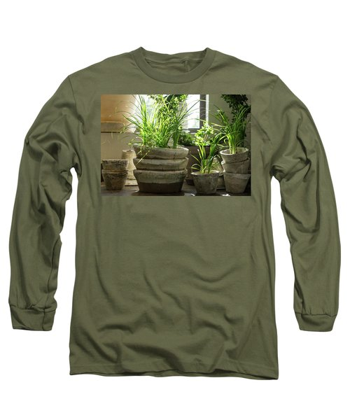 Green Plants In Old Clay Pots Long Sleeve T-Shirt