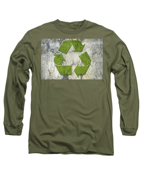 Green Recycling Sign On A Concrete Wall Long Sleeve T-Shirt by GoodMood Art