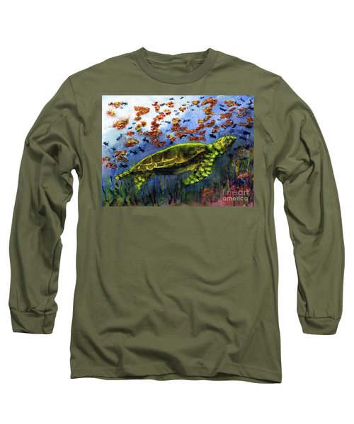Green Sea Turtle Long Sleeve T-Shirt by Randy Sprout