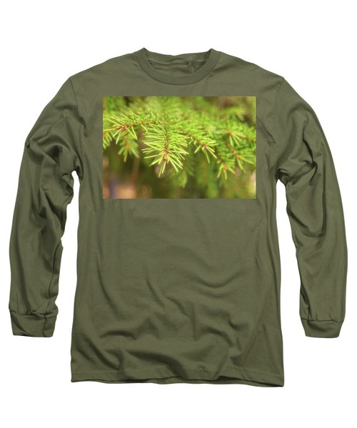 Green Spruce Branch Long Sleeve T-Shirt by Anton Kalinichev