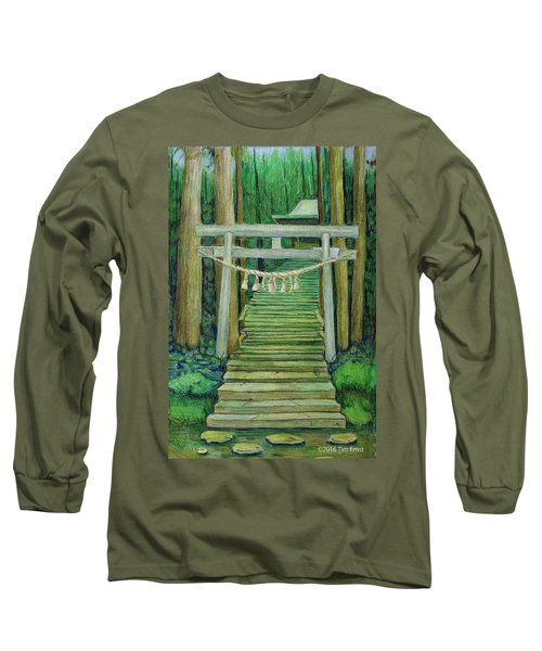 Green Stairway Long Sleeve T-Shirt by Tim Ernst