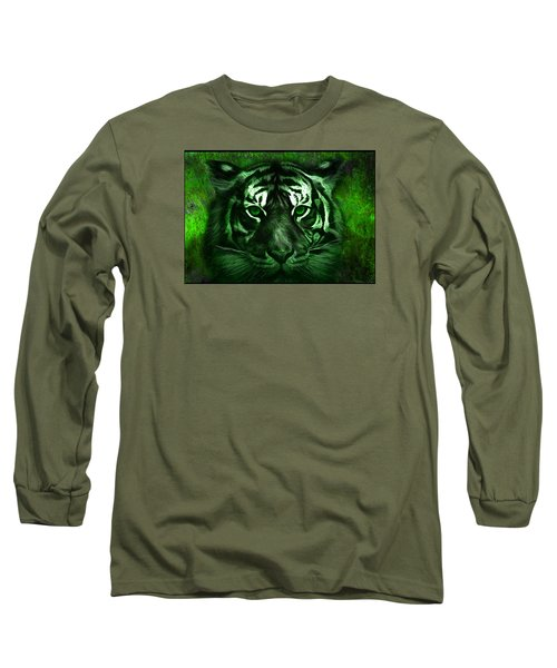 Green Tiger Long Sleeve T-Shirt by Michael Cleere