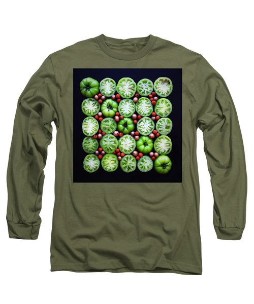 Green Tomato Slice Pattern Long Sleeve T-Shirt