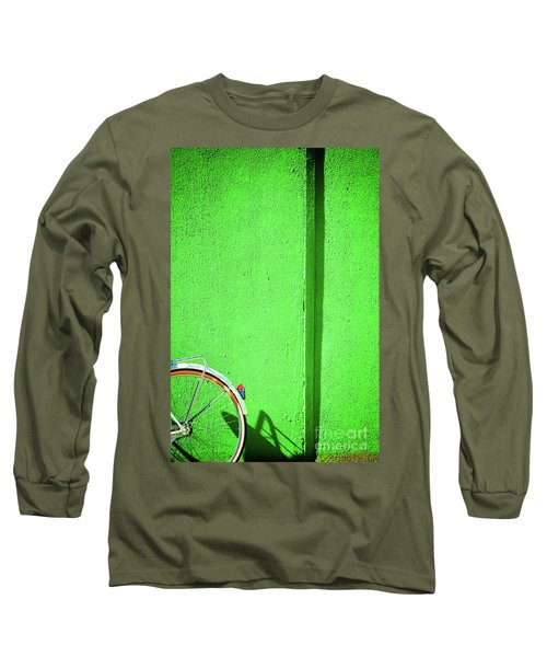 Long Sleeve T-Shirt featuring the photograph Green Wall And Bicycle Wheel by Silvia Ganora