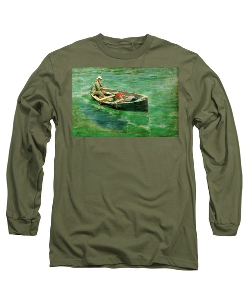 Long Sleeve T-Shirt featuring the painting Green Waters by Henry Scott Tuke
