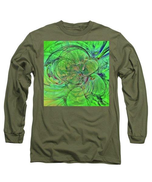 Long Sleeve T-Shirt featuring the digital art Green World Abstract by Deborah Benoit