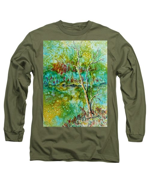Long Sleeve T-Shirt featuring the painting Greens Of Late Summer by Carolyn Rosenberger