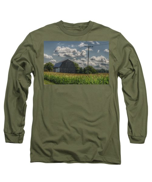 0013 - Grey Barn In A Cornfield Long Sleeve T-Shirt