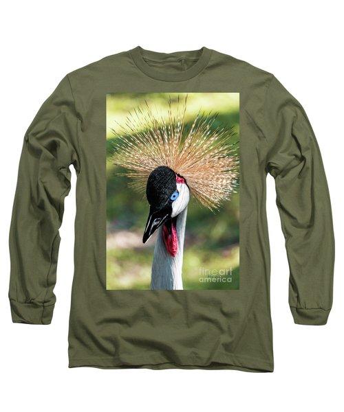 Grey Crowned Crane Gulf Shores Al 2041 Long Sleeve T-Shirt