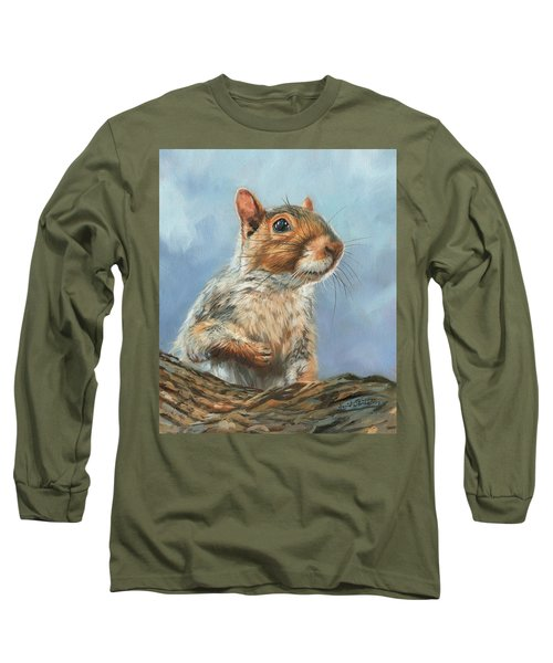 Long Sleeve T-Shirt featuring the painting Grey Squirrel by David Stribbling
