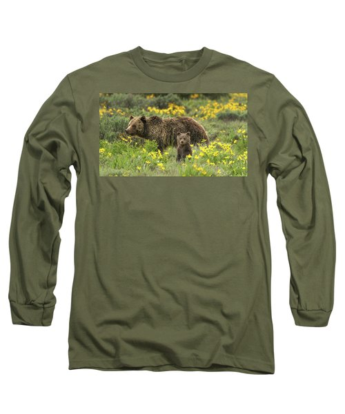 Grizzlies In The Wildflowers Long Sleeve T-Shirt