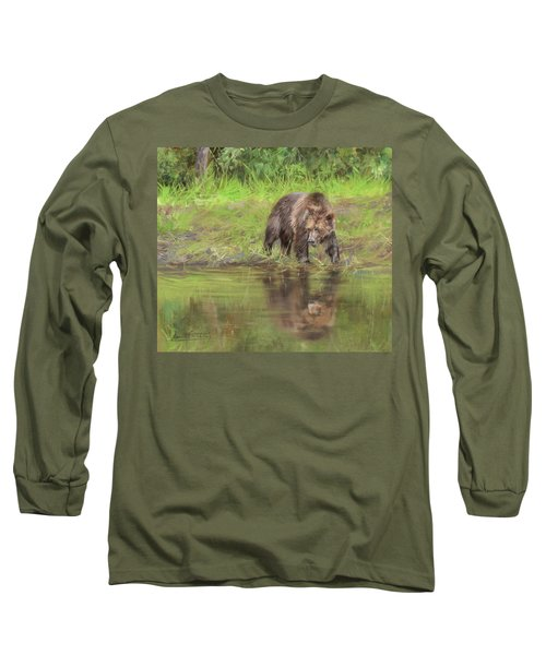 Grizzly Bear At Water's Edge Long Sleeve T-Shirt