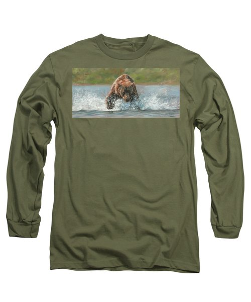 Grizzly Charge Long Sleeve T-Shirt by David Stribbling