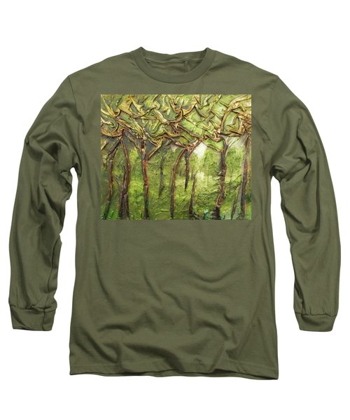 Long Sleeve T-Shirt featuring the mixed media Grove Of Trees by Angela Stout