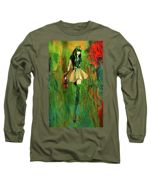 Long Sleeve T-Shirt featuring the digital art Grunge Doll by Greg Sharpe