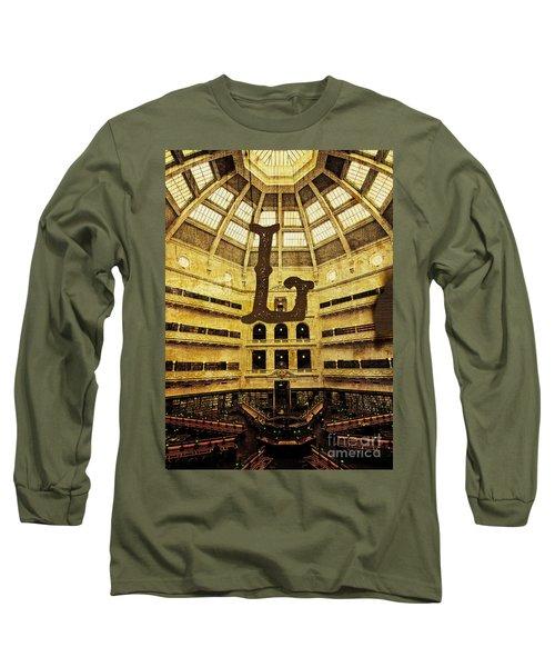Grungy Melbourne Australia Alphabet Series Letter L State Librar Long Sleeve T-Shirt