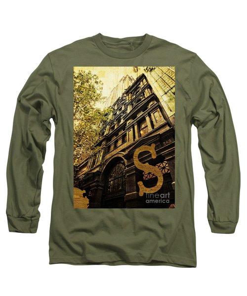 Grungy Melbourne Australia Alphabet Series Letter S Collins Stre Long Sleeve T-Shirt