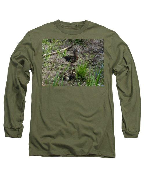 Guarding The Ducklings Long Sleeve T-Shirt by Donald C Morgan