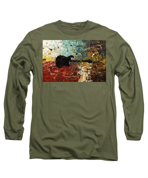 Long Sleeve T-Shirt featuring the painting Guitar Story by Carmen Guedez