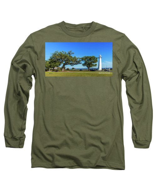 Gulf Coast Lighthouse Seascape Biloxi Ms 3663b Long Sleeve T-Shirt