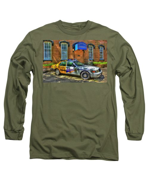 Long Sleeve T-Shirt featuring the photograph Half And Half What Is It Manna Savannah Georgia Police Art by Reid Callaway