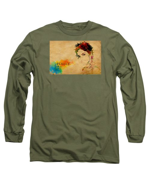 Halle Berry  Long Sleeve T-Shirt by Manjot Singh Sachdeva