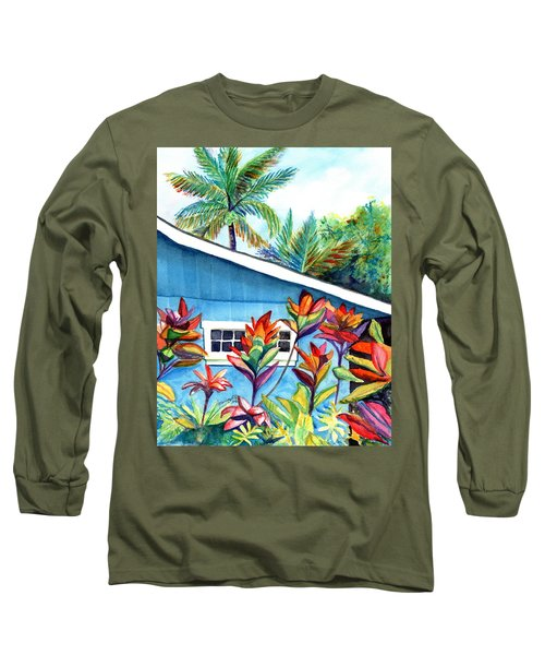 Long Sleeve T-Shirt featuring the painting Hanalei Cottage by Marionette Taboniar