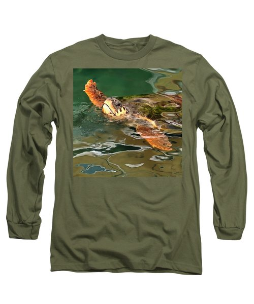 Hands Up For A Plastic Free Ocean Loggerhead Turtle Long Sleeve T-Shirt