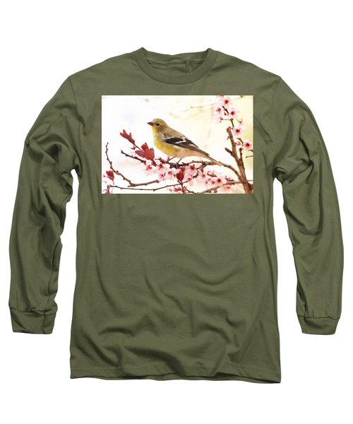 Happy Goldfinch Long Sleeve T-Shirt by Trina Ansel