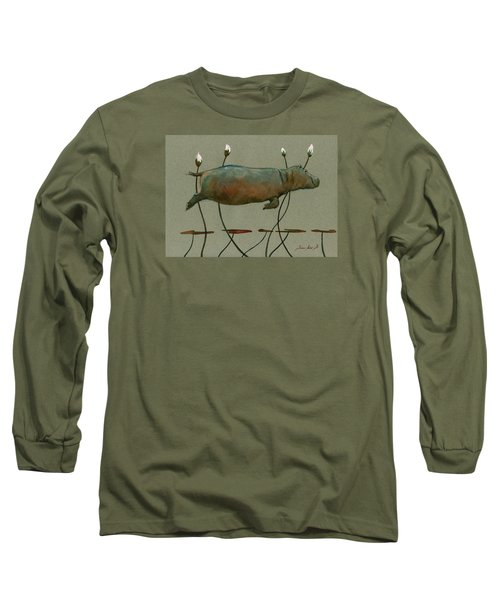 Happy Hippo Swimming Long Sleeve T-Shirt by Juan  Bosco