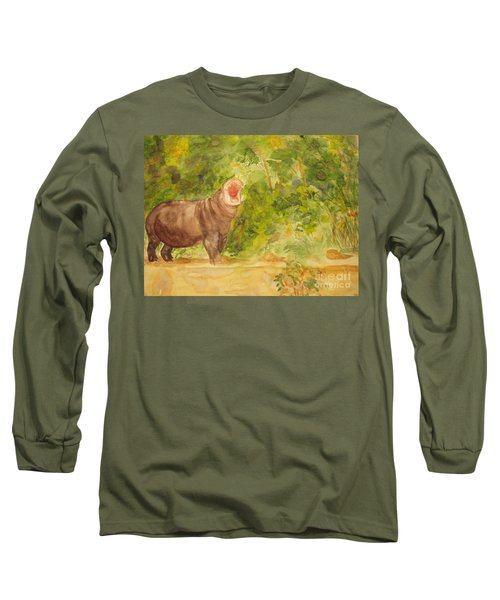 Long Sleeve T-Shirt featuring the painting Happy Hippo by Vicki  Housel