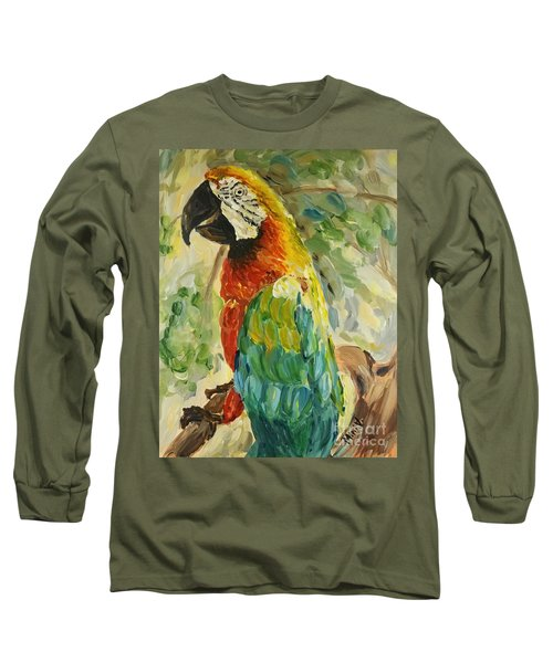 Long Sleeve T-Shirt featuring the painting Happy Parrot by Maria Langgle