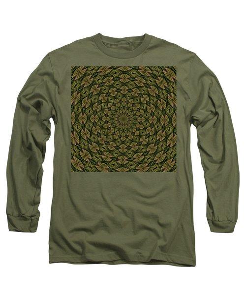 Hardwood Mandala Tile- Earthen Long Sleeve T-Shirt