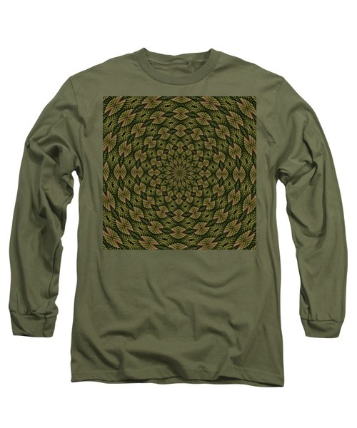 Hardwood Mandala Tile- Earthen Long Sleeve T-Shirt