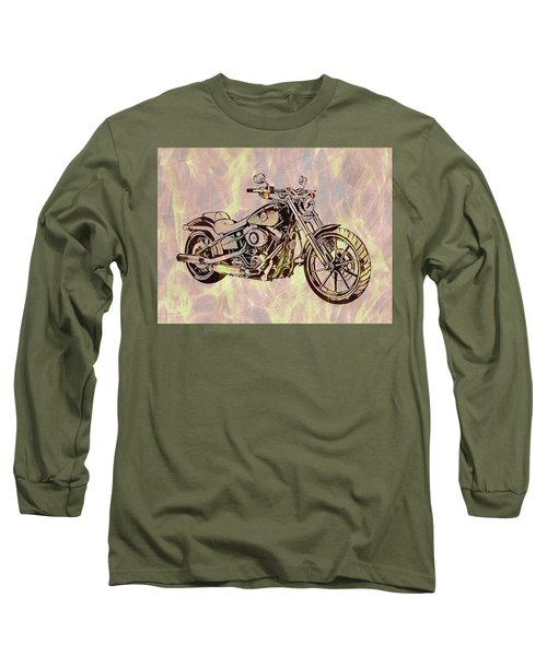 Long Sleeve T-Shirt featuring the mixed media Harley Motorcycle On Flames by Dan Sproul