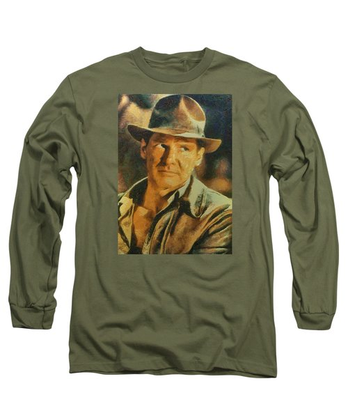 Harrison Ford As Indiana Jones Long Sleeve T-Shirt by Charmaine Zoe