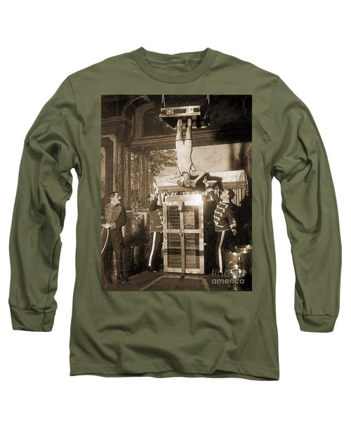 Harry Houdini Suspended Above A Tank Of Water  Long Sleeve T-Shirt