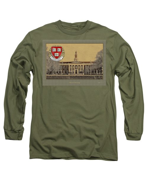 Harvard University Building With Seal Long Sleeve T-Shirt by Serge Averbukh