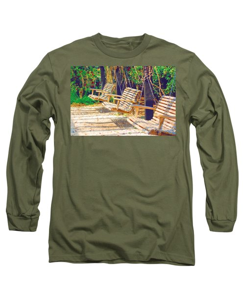 Long Sleeve T-Shirt featuring the photograph Have A Seat Relax by Donna Bentley