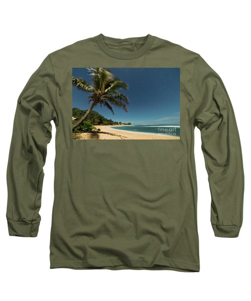 Hawaii Moonlit Beach Wainiha Kauai Hawaii Long Sleeve T-Shirt