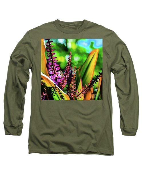 Hawaii Ti Leaf Plant And Flowers Long Sleeve T-Shirt