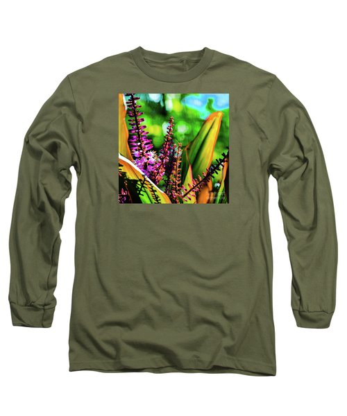 Hawaii Ti Leaf Plant And Flowers Long Sleeve T-Shirt
