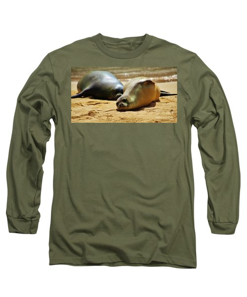 Hawaiian Monk Seals Long Sleeve T-Shirt by Craig Wood