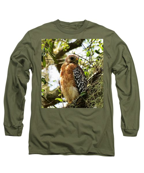 Hawk Taking A Rest On A Tree In Lakeland Florida Long Sleeve T-Shirt
