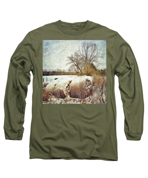 Hay Bales In Snow Long Sleeve T-Shirt