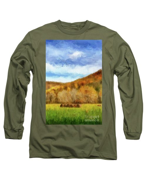 Long Sleeve T-Shirt featuring the photograph Hay Bales by Lois Bryan