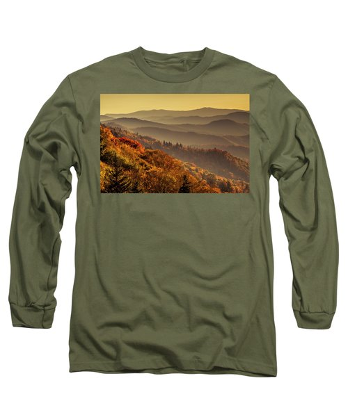Hazy Sunny Layers In The Smoky Mountains Long Sleeve T-Shirt by Teri Virbickis