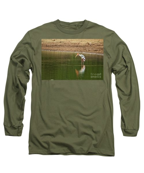 The Painted Stork  Mycteria Leucocephala  Long Sleeve T-Shirt