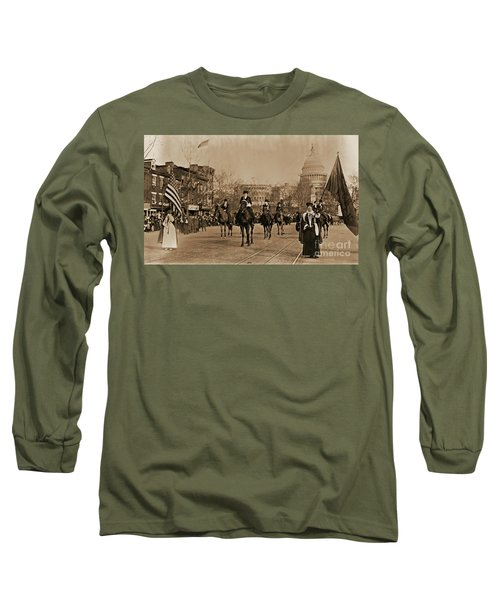 Head Of Washington D.c. Suffrage Parade Long Sleeve T-Shirt by Padre Art
