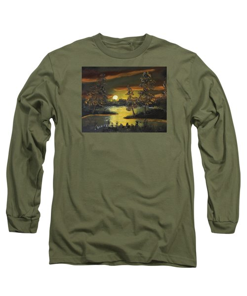 Long Sleeve T-Shirt featuring the painting Headwaters Sunset 160115 by Jack G Brauer